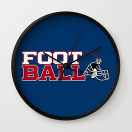 Football in Blue and Red Wall Clock