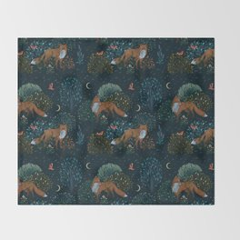 Forest Foxes Throw Blanket