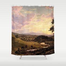 View Near Stockbridge, Massachusetts by Frederic Edwin Church Shower Curtain