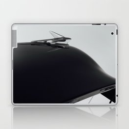 Classic Car Hood Ornament in Black and White, Photo Laptop & iPad Skin