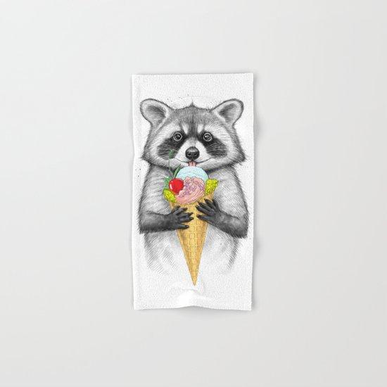 raccoon with ice cream Hand & Bath Towel