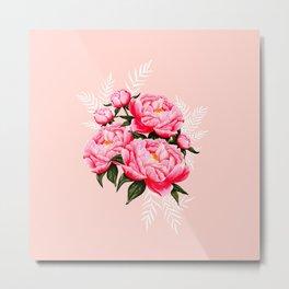 Blush Pink Peonies Bouquet  Metal Print