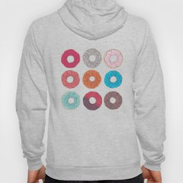 Colourful, illustrated, glazed, sprinkle Donut pattern Hoody