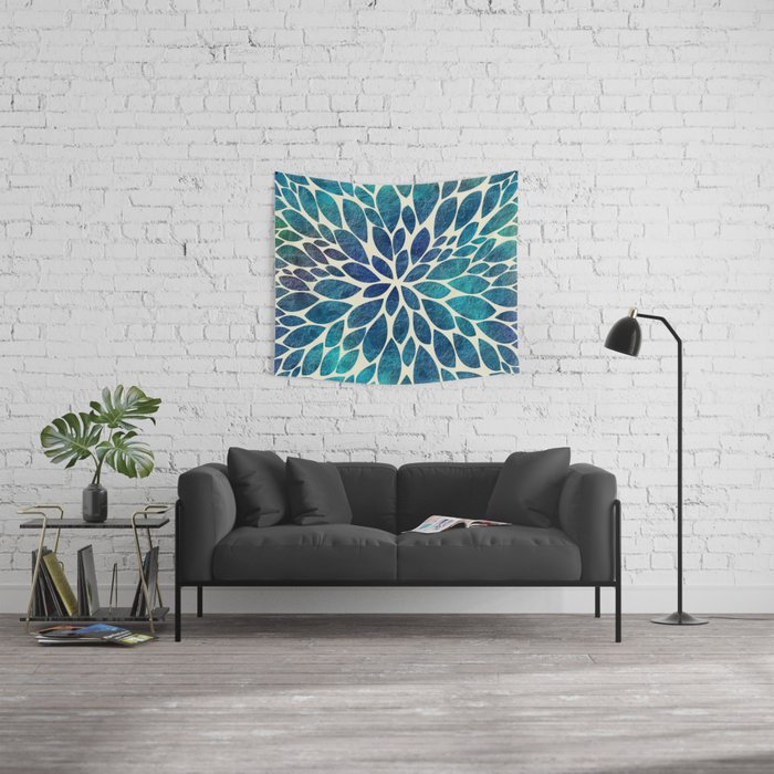 Petal Burst - Turquoise Wall Tapestry
