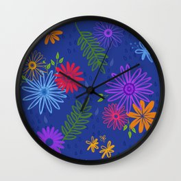 Multicolored Colorful Flower Pattern Design (Blue Pink Red Yellow Green Purple) Garden Illustration Wall Clock
