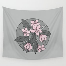 Sakura Branch - Ballet Slipper + Neutral Grey Wall Tapestry