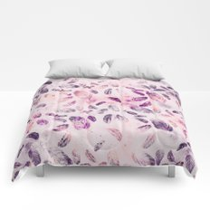Soft Pastel Watercolor Feathers Comforters