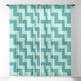 Magic Mint Green and Teal Green Steps LTR Sheer Curtain