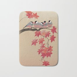 Java Sparrows in Japanese Maple Tree Bath Mat