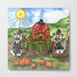 Cats and Friend Thanksgiving Parade Metal Print