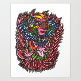 Red Feather Art Print