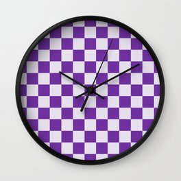 Purple and Lavender Check Wall Clock