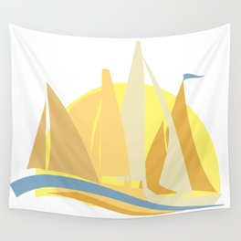 Regatta Sailing Race to the Finish Wall Tapestry