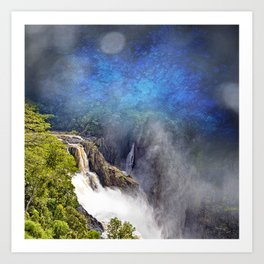 Wild waterfall in abstract Art Print
