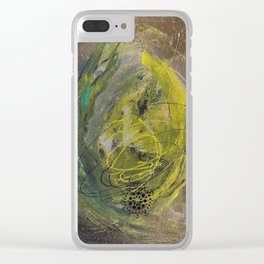Lime spray painting on canvas, handmade Clear iPhone Case