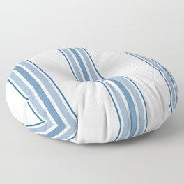 Farmhouse Blue Ticking Stripes on White Floor Pillow