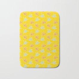 Yellow Origami Crane Japanese Kimono Pattern Bath Mat