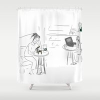 starbucks Shower Curtains featuring Reading the news at Starbucks by Gaby Kasan