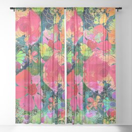 colorful floral composition Sheer Curtain