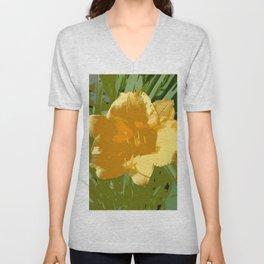 Yellow Daylily, spring flower, greenery Unisex V-Neck