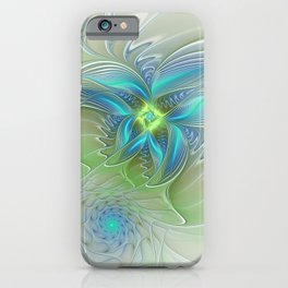 Flying Away, Abstract Shining Fractal Art iPhone Case