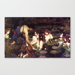John William Waterhouse - Hylas and the Nymphs - 1896 Canvas Print