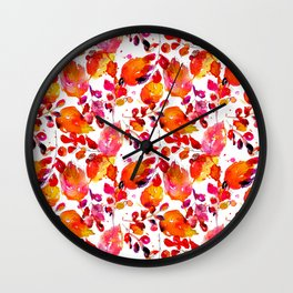 Vintage watercolor autumn leaves Wall Clock