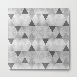 GRAPHIC PATTERN Sparkling triangles | silver Metal Print
