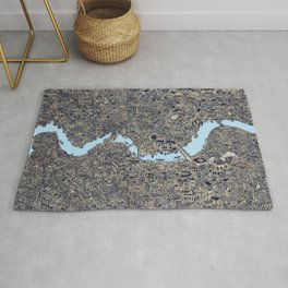 London colored map detailed drawing pen ink thames Rug