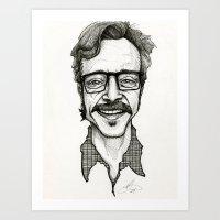 marc allante Art Prints featuring Marc Maron by Simone Bellenoit : Art & Illustration