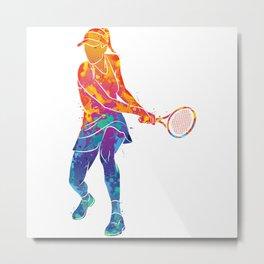 Watercolor Tennis Sports Metal Print