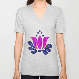 Born of Lotus Abstract Art Unisex V-Neck