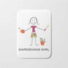Funny Womens Gardening Girl Bath Mat