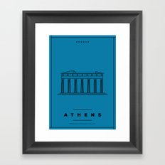 Minimal Athens City Poster Framed Art Print