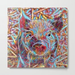 Funky little Piglet Metal Print