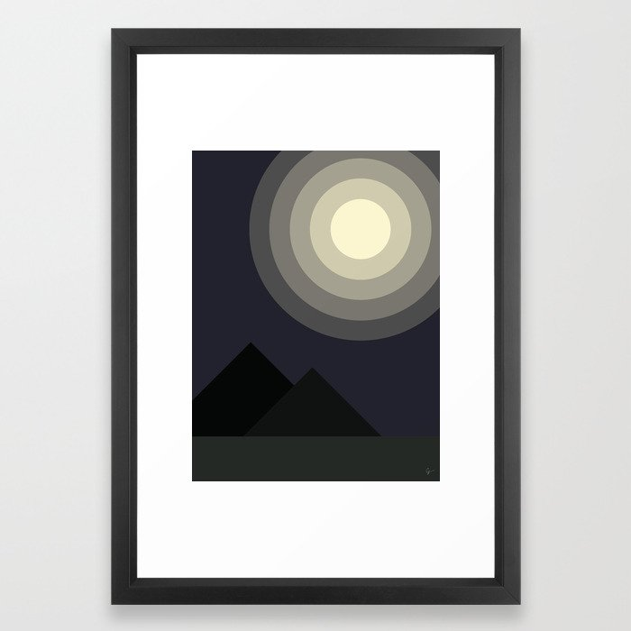 Full Moon Moonlight at Midnight in the Mountains Gerahmter Kunstdruck
