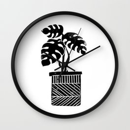 Linocut cheese plant monstera tropical leaf lino print black and white illustration art home dorm  Wall Clock