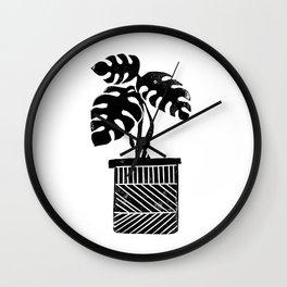 Linocut cheese plant monstera tropical leaf lino print black and white illustration art home dorm  Wall Clock