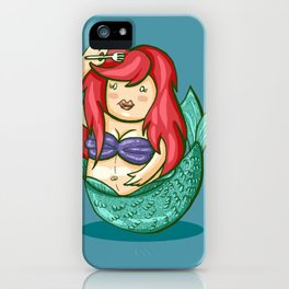 funny fat mermaid iPhone Case