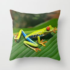 Green Tree Frog Red-Eyed Throw Pillow