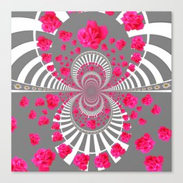 ABSTRACT PINK ROSES ON GREY COLOR ART Canvas Print