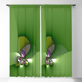 Abstract geometric round shapes on green Blackout Curtain