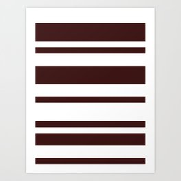 Mixed Horizontal Stripes - White and Dark Sienna Brown Art Print