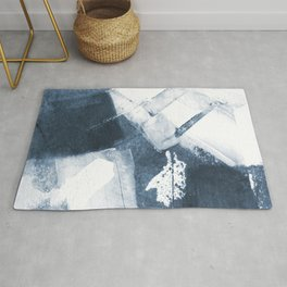 Blue and White Abstract Painting Rug