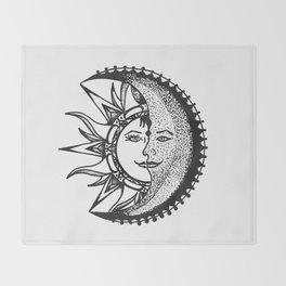 'El Sol Y La Luna' Sun and Moon Original Art, Space Wall Decor Throw Blanket