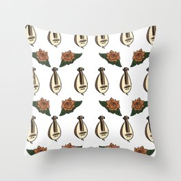 Gurdy and Roses Throw Pillow