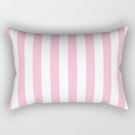 Narrow Vertical Stripes - White and Cotton Candy Pink Rectangular Pillow