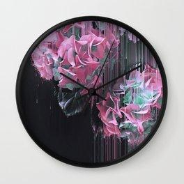 Glitch Pink Hydrangea Wall Clock