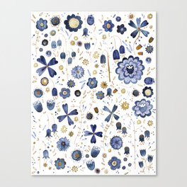 Indigo Flower Mashup Canvas Print