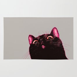 Curious cat, Black cat, Pop Art cat. Rug
